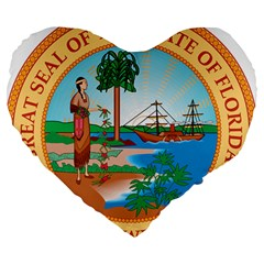 Great Seal Of Florida, 1900 1985 Large 19  Premium Flano Heart Shape Cushions
