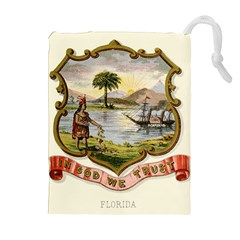 Historical Florida Coat Of Arms Drawstring Pouch (xl) by abbeyz71
