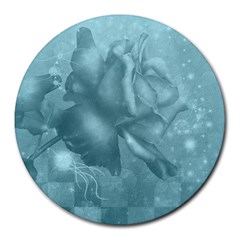 Wonderful Blue Soft Roses Round Mousepads by FantasyWorld7