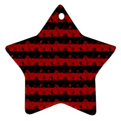 Blood Red And Black Halloween Nightmare Stripes  Star Ornament (two Sides) by PodArtist