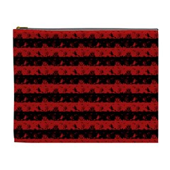Blood Red And Black Halloween Nightmare Stripes  Cosmetic Bag (xl) by PodArtist