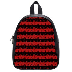 Blood Red And Black Halloween Nightmare Stripes  School Bag (small) by PodArtist