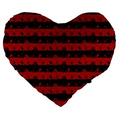 Blood Red And Black Halloween Nightmare Stripes  Large 19  Premium Heart Shape Cushions by PodArtist