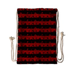 Blood Red And Black Halloween Nightmare Stripes  Drawstring Bag (small) by PodArtist