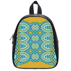 Green Blue Shapes                                            School Bag (small) by LalyLauraFLM