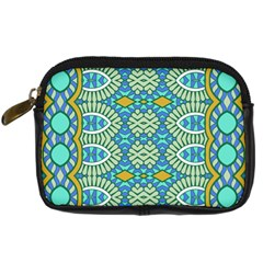 Green Blue Shapes                                       Digital Camera Leather Case by LalyLauraFLM