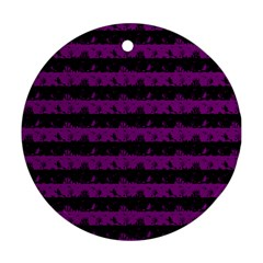 Zombie Purple And Black Halloween Nightmare Stripes  Ornament (round) by PodArtist