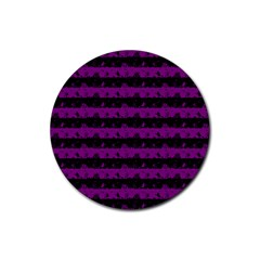 Zombie Purple And Black Halloween Nightmare Stripes  Rubber Round Coaster (4 Pack)  by PodArtist