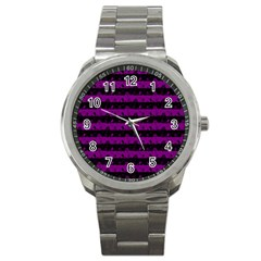Zombie Purple And Black Halloween Nightmare Stripes  Sport Metal Watch by PodArtist