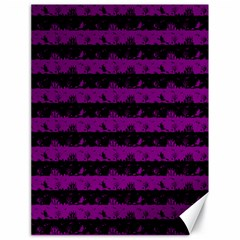Zombie Purple And Black Halloween Nightmare Stripes  Canvas 18  X 24  by PodArtist