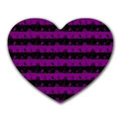 Zombie Purple And Black Halloween Nightmare Stripes  Heart Mousepads by PodArtist