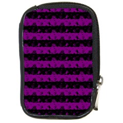 Zombie Purple And Black Halloween Nightmare Stripes  Compact Camera Leather Case