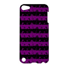 Zombie Purple And Black Halloween Nightmare Stripes  Apple Ipod Touch 5 Hardshell Case by PodArtist