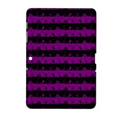Zombie Purple And Black Halloween Nightmare Stripes  Samsung Galaxy Tab 2 (10 1 ) P5100 Hardshell Case  by PodArtist
