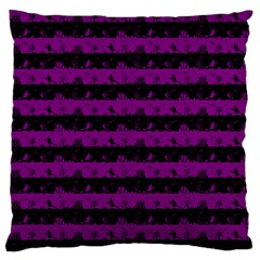 Zombie Purple And Black Halloween Nightmare Stripes  Large Flano Cushion Case (one Side) by PodArtist