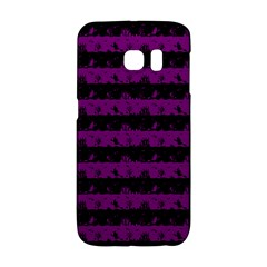 Zombie Purple And Black Halloween Nightmare Stripes  Samsung Galaxy S6 Edge Hardshell Case by PodArtist
