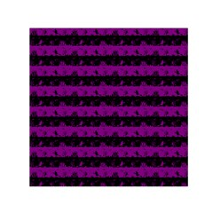 Zombie Purple And Black Halloween Nightmare Stripes  Small Satin Scarf (square) by PodArtist