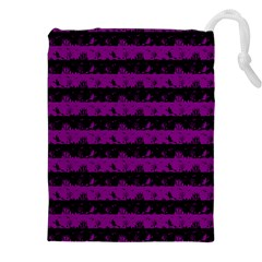 Zombie Purple And Black Halloween Nightmare Stripes  Drawstring Pouch (xxl)