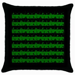Alien Green And Black Halloween Nightmare Stripes  Throw Pillow Case (black) by PodArtist