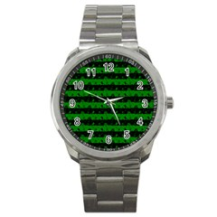 Alien Green And Black Halloween Nightmare Stripes  Sport Metal Watch by PodArtist
