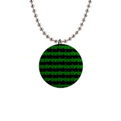 Alien Green And Black Halloween Nightmare Stripes  Button Necklaces by PodArtist