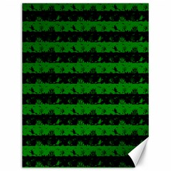 Alien Green And Black Halloween Nightmare Stripes  Canvas 12  X 16  by PodArtist
