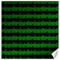 Alien Green And Black Halloween Nightmare Stripes  Canvas 16  X 16  by PodArtist