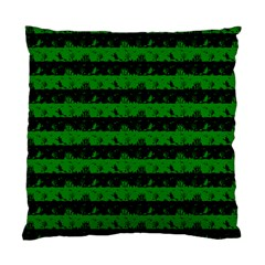 Alien Green And Black Halloween Nightmare Stripes  Standard Cushion Case (two Sides) by PodArtist