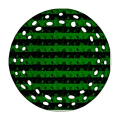 Alien Green And Black Halloween Nightmare Stripes  Ornament (round Filigree) by PodArtist