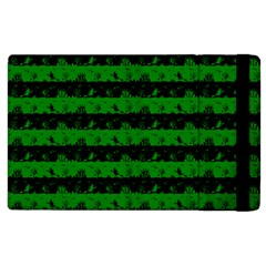 Alien Green And Black Halloween Nightmare Stripes  Apple Ipad 3/4 Flip Case by PodArtist