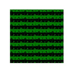 Alien Green And Black Halloween Nightmare Stripes  Small Satin Scarf (square) by PodArtist