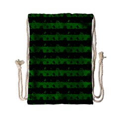 Alien Green And Black Halloween Nightmare Stripes  Drawstring Bag (small) by PodArtist