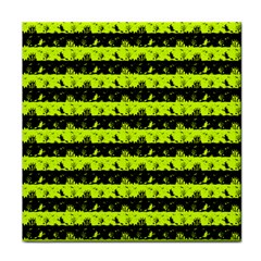 Slime Green And Black Halloween Nightmare Stripes  Tile Coasters by PodArtist