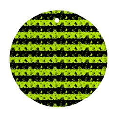 Slime Green And Black Halloween Nightmare Stripes  Ornament (round) by PodArtist