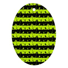 Slime Green And Black Halloween Nightmare Stripes  Ornament (oval) by PodArtist
