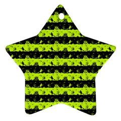 Slime Green And Black Halloween Nightmare Stripes  Ornament (star) by PodArtist