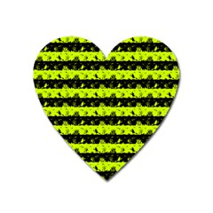Slime Green And Black Halloween Nightmare Stripes  Heart Magnet by PodArtist