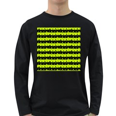 Slime Green And Black Halloween Nightmare Stripes  Long Sleeve Dark T Shirt