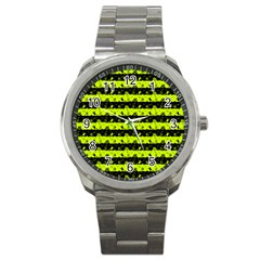 Slime Green And Black Halloween Nightmare Stripes  Sport Metal Watch by PodArtist