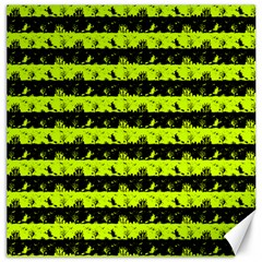Slime Green And Black Halloween Nightmare Stripes  Canvas 20  X 20  by PodArtist