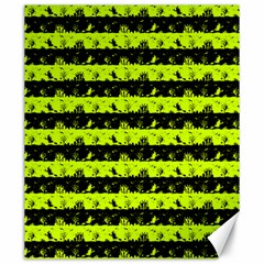 Slime Green And Black Halloween Nightmare Stripes  Canvas 20  X 24  by PodArtist