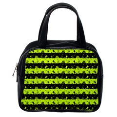 Slime Green And Black Halloween Nightmare Stripes  Classic Handbag (one Side) by PodArtist