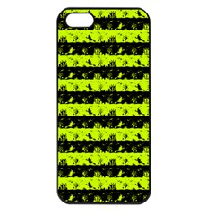 Slime Green And Black Halloween Nightmare Stripes  Apple Iphone 5 Seamless Case (black) by PodArtist