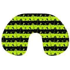 Slime Green And Black Halloween Nightmare Stripes  Travel Neck Pillows by PodArtist