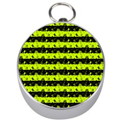 Slime Green And Black Halloween Nightmare Stripes  Silver Compasses by PodArtist