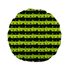 Slime Green And Black Halloween Nightmare Stripes  Standard 15  Premium Flano Round Cushions by PodArtist