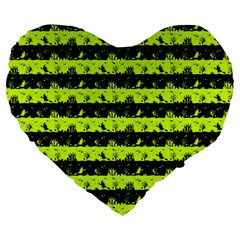 Slime Green And Black Halloween Nightmare Stripes  Large 19  Premium Flano Heart Shape Cushions by PodArtist