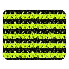 Slime Green And Black Halloween Nightmare Stripes  Double Sided Flano Blanket (large)  by PodArtist