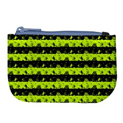 Slime Green And Black Halloween Nightmare Stripes  Large Coin Purse by PodArtist