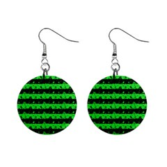 Monster Green And Black Halloween Nightmare Stripes  Mini Button Earrings by PodArtist